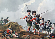 Peninsular War: Battle of Vimiera, 21 August 1808. Wellesley (Wellington) defeated Junot. 11th Highland Regiment's piper continues to play when wounded.