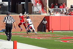 17 September 2016:  A pass early in the 3rd quarter from Jake Kolbe drops in over Pnon Choy into the hands of Christian Gibbs for a touchdown. NCAA FCS Football game between Eastern Illinois Panthers and Illinois State Redbirds for the 105th Mid-America Classic on Family Dat at Hancock Stadium in Normal IL (Photo by Alan Look)