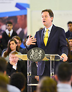 © Licensed to London News Pictures. 27/02/2014. London, UK. Deputy Prime Minister and Leader of the Liberal Democrats Nick Clegg delivers a speech today, 27th February 2014, on how all young people will be helped to succeed after leaving school. He was speaking to over 500 students at Southfields Academy in South West London. Photo credit : Stephen Simpson/LNP