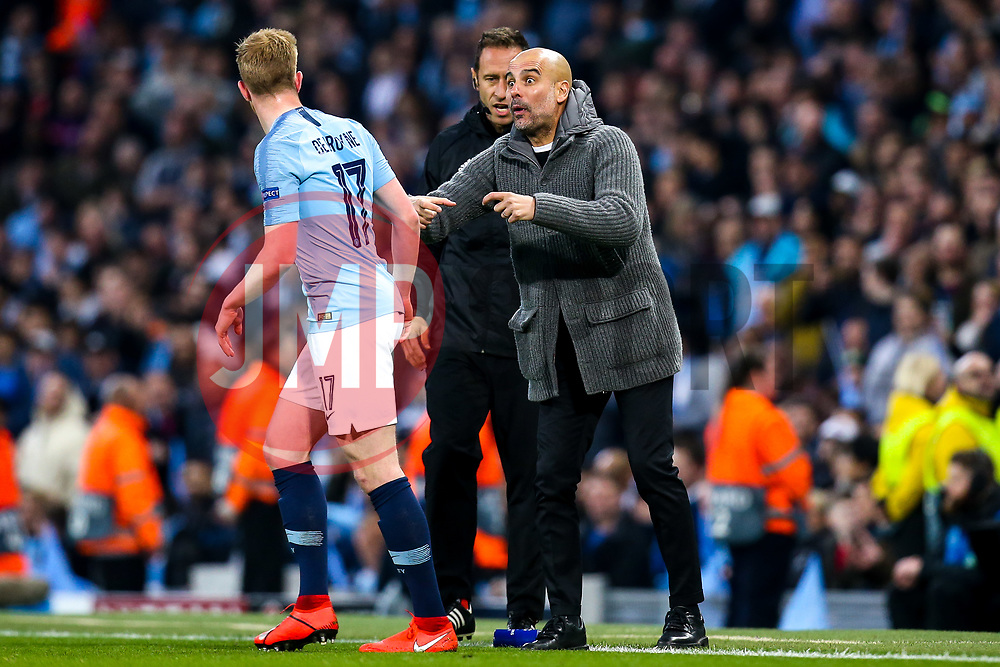 Manchester City manager Pep Guardiola speaks to Kevin De Bruyne of Manchester City - Mandatory by-line: Robbie Stephenson/JMP - 17/04/2019 - FOOTBALL - Etihad Stadium - Manchester, England - Manchester City v Tottenham Hotspur - UEFA Champions League Quarter Final 2nd Leg