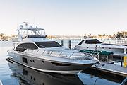 Luxury Yachts Docked in Newport Marina of Newport Beach