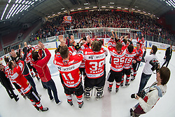 Players of HDD Jesenice after winning national championship in ice hockey match between HDD SIJ Acroni Jesenice and HDD Telemach Olimpija in 4th leg of Finals of Slovenian National Championship 2014/2015, on April 15, 2015 in Podmezakla, Jesenice, Slovenia. Photo by Grega Valancic / Sportida