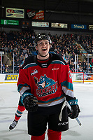 KELOWNA, BC - NOVEMBER 16:  Jake Lee #21 of the Kelowna Rockets skates to the bench to celebrate a goal against the Kamloops Blazers at Prospera Place on November 16, 2019 in Kelowna, Canada. (Photo by Marissa Baecker/Shoot the Breeze)