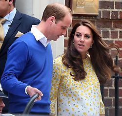 Catherine, Duchess of Cambridge and Prince William, Duke of Cambridge depart the Lindo Wing with their newborn daughter at the St Mary's Hospital in London, UK. 02/05/2015<br />
