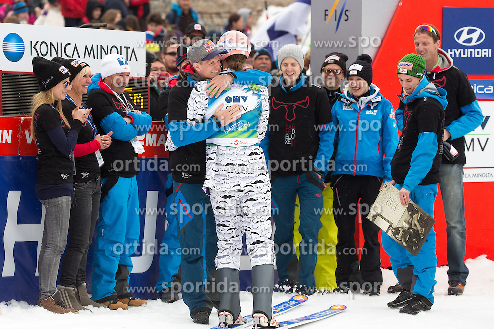 Thomas Morgenstern of Austria highs Martin Koch of Austria at his retirement during Large Hill Team Competition at 3rd day of FIS Ski Jumping World Cup Finals Planica 2014, on March 22, 2014 in Planica, Slovenia. Photo by Matic Klansek Velej/ Sportida