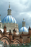 ECUADOR, HIGHLANDS, CUENCA colonial architecture; Cathedral domes