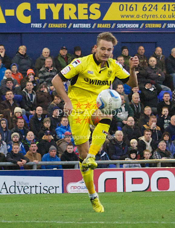 OLDHAM, ENGLAND - Saturday, November 10, 2012: Tranmere Rovers' Adam McGurk scores the only goal of the game against Oldham Athletic during the Football League One match at Boundary Park. (Pic by David Rawcliffe/Propaganda)