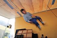 Professional dancer Luis Soto doing somersault