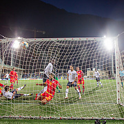 ANDORRA LA VELLA, ANDORRA. June 1.  Kurt Zouma #15 of France forces the ball home for his sides fourth goal  during the Andorra V France 2020 European Championship Qualifying, Group H match at the Estadi Nacional d'Andorra on June 11th 2019 in Andorra (Photo by Tim Clayton/Corbis via Getty Images)