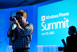 Media attend the Microsoft Developer Summit in San Francisco, California.