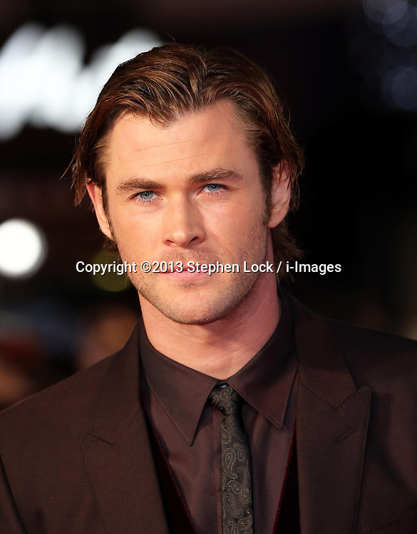 Chris Hemsworth  arriving for the premiere of Thor: The Dark World, in London, Tuesday, 22nd October 2013. Picture by Stephen Lock / i-Images