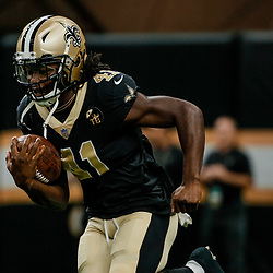 Aug 17, 2018; New Orleans, LA, USA; New Orleans Saints running back Alvin Kamara (41) prior to a preseason game against the Arizona Cardinals at the Mercedes-Benz Superdome. Mandatory Credit: Derick E. Hingle-USA TODAY Sports