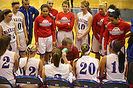 Washington Warrior's head coach Frank Howell talks to his team during a timeout in their Regional Semi-Final game at Washington High School in Cedar Rapids on Saturday, February 16 2013.