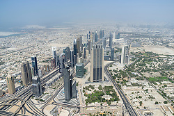 "View from world's highest observation deck ""At the Top Sky"" in Burj Khalifa tower in Dubai United Arab Emirates"
