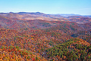 View of autumn colors from the Jumpinoff Rock overlook, located along the Blue Ridge Parkway near Glendale Springs, North Carolina