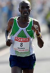 15-04-2007 ATLETIEK: FORTIS MARATHON: ROTTERDAM<br /> In Rotterdam werd zondag de 27e editie van de Marathon gehouden. De marathon werd rond de klok van 2 stilgelegd wegens de hitte en het grote aantal uitvallers / Jimmy Muindi KEN<br /> ©2007-WWW.FOTOHOOGENDOORN.NL