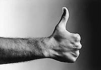 Thumbs up (b&w) (close-up)