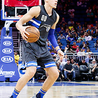 25 February 2017: Orlando Magic forward Aaron Gordon (00) dribbles during the Orlando Magic 105-86 victory over the Atlanta Hawks, at the Amway Center, Orlando, Florida, USA.