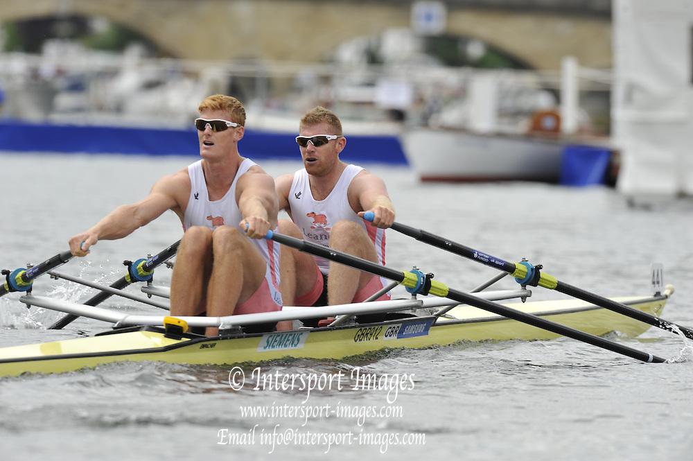 Henley, Great Britain. The Double Sculls Challenge Cup.  GBR M2X Bow Matt WELLS and Marcus BATEMAN Lender Club. Royal Regatta. River Thames Henley Reach.  Friday   01/07/2011  [Mandatory Credit Peter Spurrier/ Intersport Images] 2011 Henley Royal Regatta. HOT. Great Britain . HRR