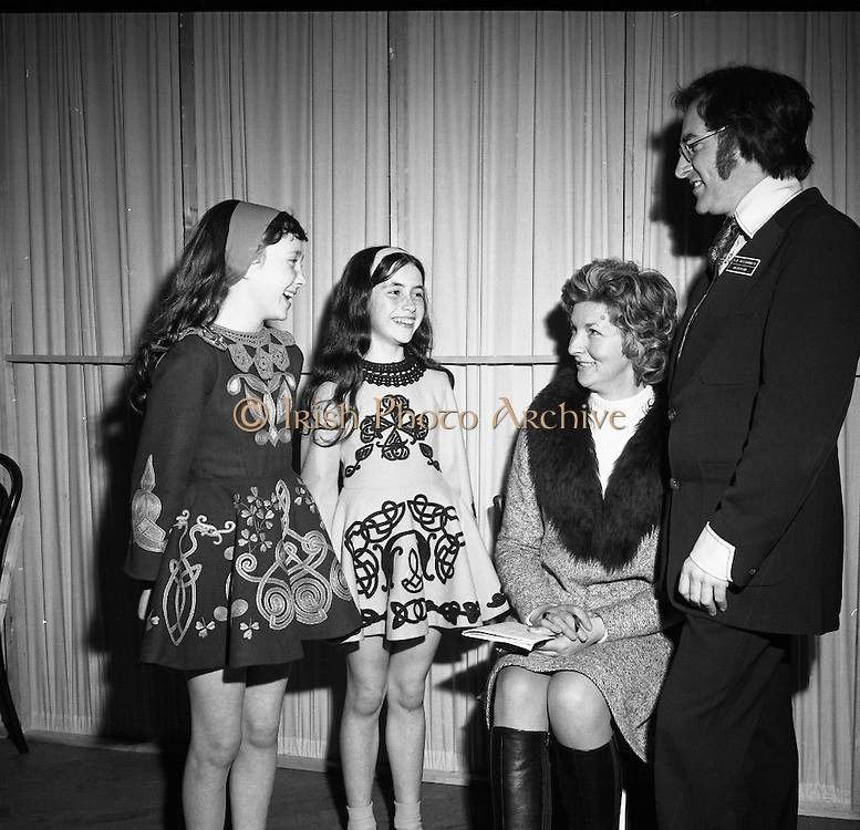 World Irish Dancing Championships.   (G59)..1974..11.04.1974..04.11.1974..11 April 1974..The World Irish Dancing Competition took place over the Easter Weekend at the Mansion House, Dublin. Dancers of all ages from around the world took part in the event..Pictured at the competion were (L-R) Sheila Hayes, O'Regan,School of Dance,Cork, Catherine Cuthbert, Cullinane School of Dance, Cork, Ms Phyllis O'Brien,teacher at the O'Regan School and Dr John Cullinane the Organising Commissioner of the championships. The girls competed in the 11 to 13 age group.