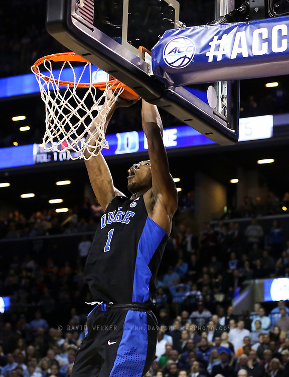Duke forward Harry Giles (1) dunks the ball during the semifinals of the 2017 New York Life ACC Tournament at the Barclays Center in Brooklyn, N.Y., Friday, March 10, 2017. (Photo by David Welker, theACC.com)