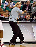 North Carolina head coach Sylvia Hatchell reacts to a call during their 78 - 65 win over Florida State in the second round of the 2011 ACC Women's Basketball Tournament held at the Greensboro Coliseum in Greensboro, North Carolina.  (Photo by Mark W. Sutton)