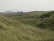 heavy industry seen from dune landscape Holland IJmuiden