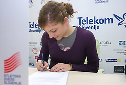Ilona Rebernik when Slovenian athletes and their coaches sign contracts with Athletic federation of Slovenia for year 2009,  in Ljubljana, Slovenia, on March 2, 2009. (Photo by Vid Ponikvar / Sportida)