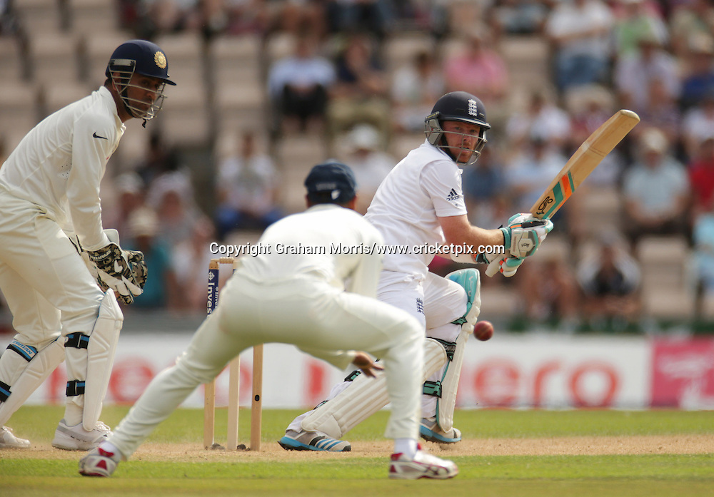 Ian Bell reverse sweeps during the third Investec Test Match between England and India at the Ageas Bowl, Southampton. Photo: Graham Morris/www.cricketpix.com (Tel: +44 (0)20 8969 4192; Email: graham@cricketpix.com) 28/07/14