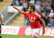 Portugal, FUNCHAL : Benfica's Argentine midfielder Salvio  celebrates after scoring a goal  during the Portuguese league football match  CD Nacional vs Benfica at the Madeira stadium in Funchal on November 09, 2014.   AFP PHOTO / GREGORIO CUNHA