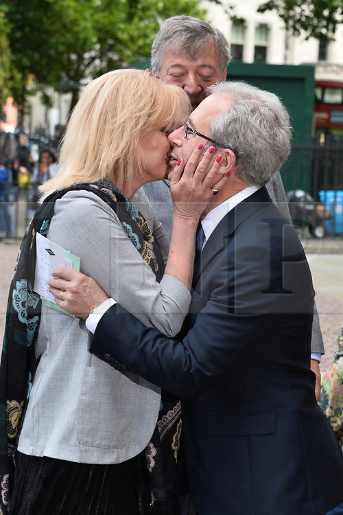 © Licensed to London News Pictures. 07/06/2017. London, UK. JOANNA LUMLEY, STEPHEN FRY and BEN ELTON attends a service of Thanksgiving for the life and work of RONNIE CORBETT at Westminster Abbey. The entertainer, comedian, actor, writer, and broadcaster was best known for his long association with Ronnie Barker in the BBC television comedy sketch show The Two Ronnies. Photo credit: Ray Tang/LNP