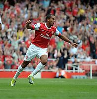 Theo Walcott Celebrates Scoring his 1st of 3 Goals<br /> Arsenal 2010/11<br /> Arsenal V Blackpool (6-0) 21/08/10<br /> The Premier League<br /> Photo Robin Parker Fotosports International