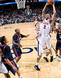 Virginia guard Mustapha Farrakhan (2) goes up for a dunk against Howard.  The Virginia Cavaliers men's basketball team faced the Howard Bison at the John Paul Jones Arena in Charlottesville, VA on November 14, 2007.