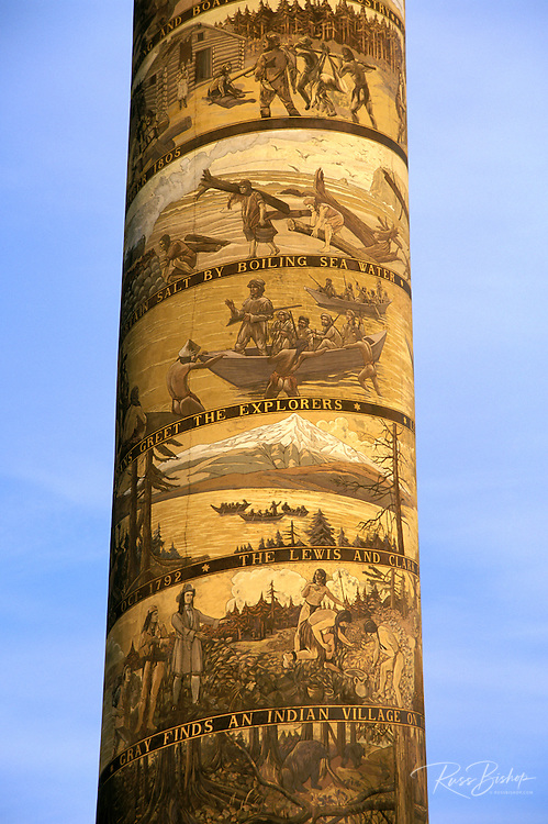 Murals depicting Lewis & Clark and early Oregon history on the Astoria Column, Astoria, Oregon