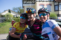 Tiffany Cromwell (AUS) celebrates her win with her CANYON//SRAM Racing teammates after Stage 1 of the Lotto Thuringen Ladies Tour - a 124.8 km road race, starting and finishing in Schleiz on July 13, 2017, in Thuringen, Germany. (Photo by Balint Hamvas/Velofocus.com)