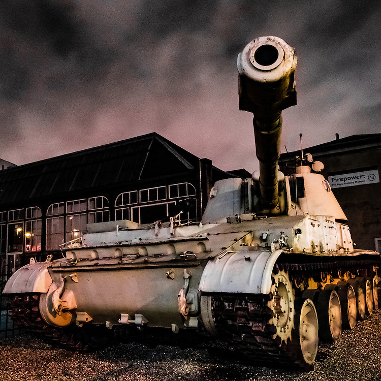 The tank outside of Firepower, the military museum in the Royal Arsenal, Woolwich, London, England.