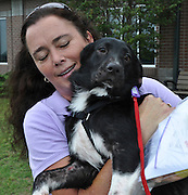 20090916  -  Athens, Ga : Rescue dog Oreo, a six-month-old female border collie, gets a last hug from her foster, Sabrina Sweeney, who rescued Oreo from a north Georgia facility the day she was to be put to sleep. She was found wandering in north Georgia undernourished and scavaging for food. PilotsNPaws, a voluntary organization, is trying to transport 5000 dogs from Sept. 12-19, 2009. (http://www.pilotsnpaws.org)  David Tulis         dtulis@gmail.com    ©David Tulis 2009