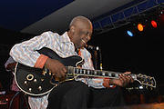 Indianola Mississippi May 25, 2014 Multi Grammy winner and legendary blues guitarist 88 yr. old B.B. King plays his last hometown crowd  outside his museum the  B.B. King Delta Interpretive Center and Museum. It was announced that this would be the last year Mr. King will perform for this annual homecoming event that he has performed for his hometown fans for over 40 years. Photo© Suzi Altman Indianola Mississippi- Multi Grammy winner and legendary blues guitarist B.B. King plays his hometown crowd outside his museum the  B.B. King Delta Interpretive Center and Museum. Photo© Suzi Altman