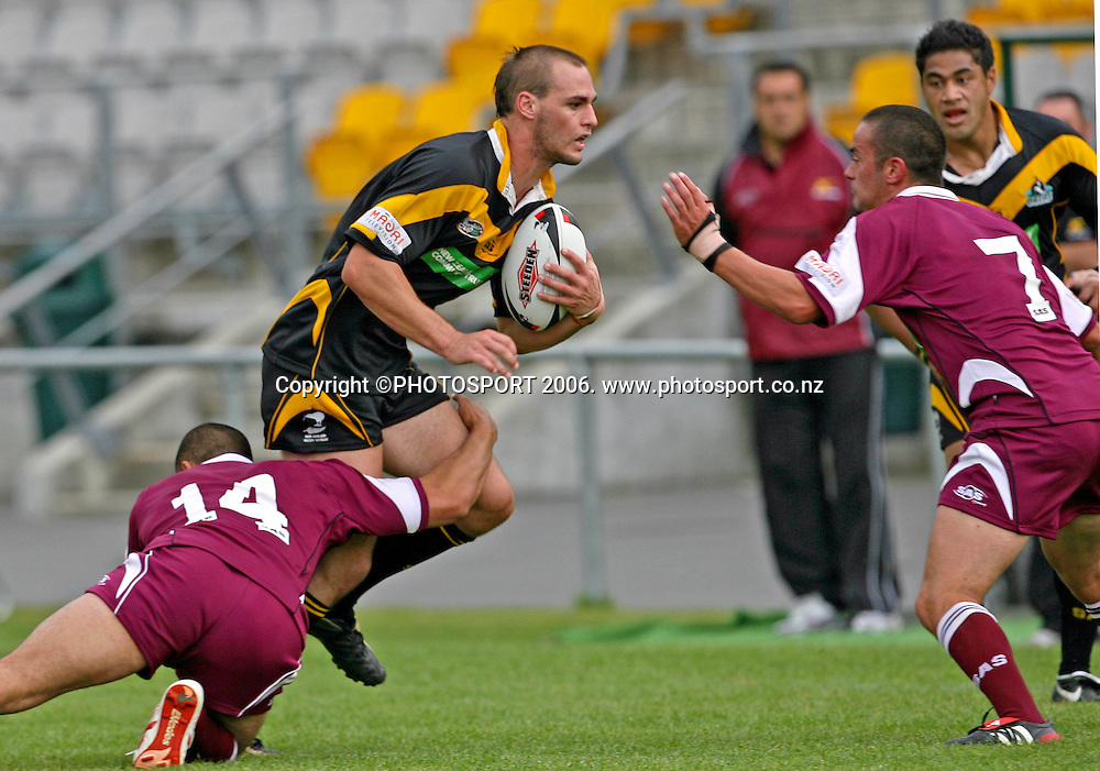 Wellington Orcas Simon Mannering takes the ball up during the Bartercard Cup round 4 rugby league match between Wellington Orcas and Harbour League at Porirua Stadium, Wellington, New Zealand on Sunday 16 April 2006. Wellington won the game 28 - 16. Photo: Mark Thompson/PHOTOSPORT<br /> <br /> 160406
