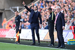 Swansea City manager Paul Clement gives his players directions. - Mandatory by-line: Alex James/JMP - 22/04/2017 - FOOTBALL - Liberty Stadium - Swansea, England - Swansea City v Stoke City - Premier League