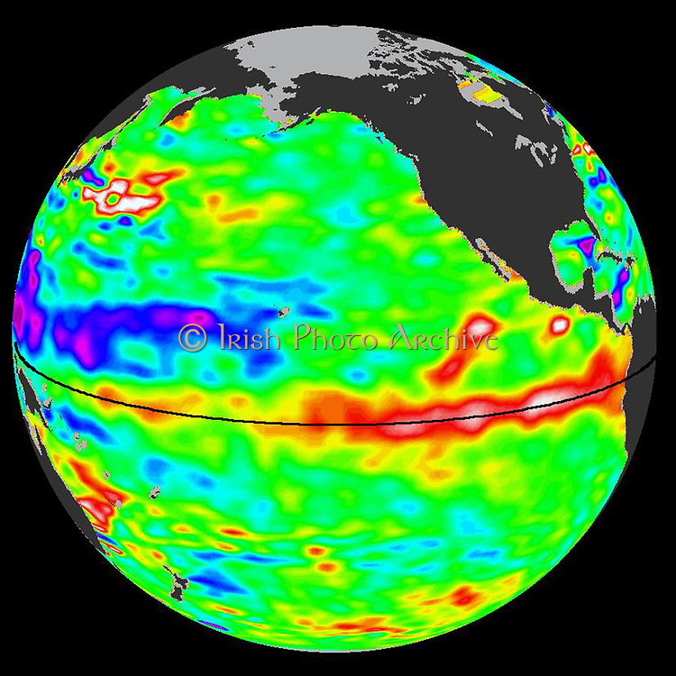 Sea-level height data from the NASA/European Ocean Surface Topography Mission/Jason-2 oceanography satellite December 1, 2009 It shows a red and white area in the central and eastern equatorial Pacific that is about 10 to 18 centimetres (4 to 7 inches) above normal. These regions contrast with the western equatorial Pacific, where lower than-normal sea levels (blue and purple areas) are between 8 to 15 centimetres (3 and 6 inches) below normal. Along the equator, the red and white colours depict areas where sea surface temperatures are more than one to two degrees Celsius above normal (two to four degrees Fahrenheit).