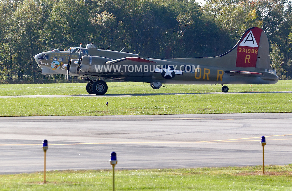 Montgomery, N.Y. - A B-17 Flying Fortress taxies down the runway after landing at Orange County Airport on Sept. 29, 2006. The World War II bomber was at the airport as part of the Wings of Freedom Tour.