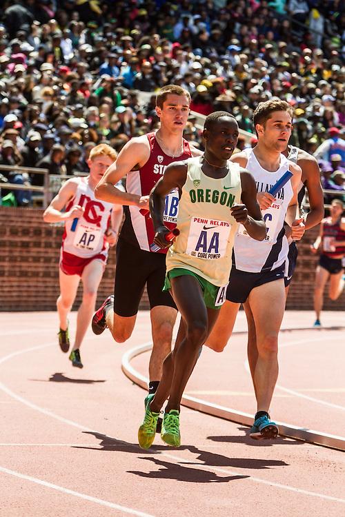 Penn Relays, College men 4 x mile relay, anchor leg, Cheserek, Oregon, Williamsz, Villanova, McGorty, Stanford