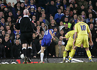 Photo: Lee Earle.<br /> Chelsea v Colchester United. The FA Cup. 19/02/2006. Chelsea's Joe Cole (C) fires in their second goal.