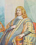 Edward Hyde, lst Earl of Clarendon (1609-1674), Lord Chancellor under Charles II (1658-1667). Father-in-law of James II, grandfather of Mary II and Queen Anne. After portrait by George Perfect Harding.