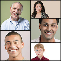 Collage of multi-ethnic people smiling