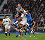 Twickenham, Great Britain,Gael FICKOU, collects the high ball during the Six Nations Rugby England vs France, played at the RFU Stadium, Twickenham, ENGLAND. <br /> <br /> Saturday   21/03/2015<br /> <br /> [Mandatory Credit; Peter Spurrier/Intersport-images]