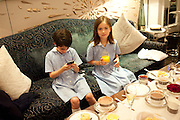 AVA JONES; STELLA JONES, Stephen Webster hosted  the Stephen Webster Bijoux Tea.  Launching the  tea  inspired by StephenÕs most recent fine jewellery collection ÔMurder She WroteÕ whichwas also on display. Langham Hotel. Portland Place. London. 14 September 2011. <br /> <br />  , -DO NOT ARCHIVE-© Copyright Photograph by Dafydd Jones. 248 Clapham Rd. London SW9 0PZ. Tel 0207 820 0771. www.dafjones.com.<br /> AVA JONES; STELLA JONES, Stephen Webster hosted  the Stephen Webster Bijoux Tea.  Launching the  tea  inspired by Stephen's most recent fine jewellery collection 'Murder She Wrote' whichwas also on display. Langham Hotel. Portland Place. London. 14 September 2011. <br /> <br />  , -DO NOT ARCHIVE-© Copyright Photograph by Dafydd Jones. 248 Clapham Rd. London SW9 0PZ. Tel 0207 820 0771. www.dafjones.com.