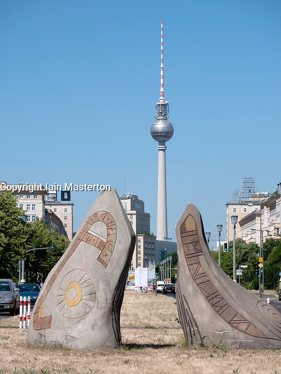 View along Karl Marx Allee towards television tower or Fernseturm at Alexanderplatz in former East Berlin Germany