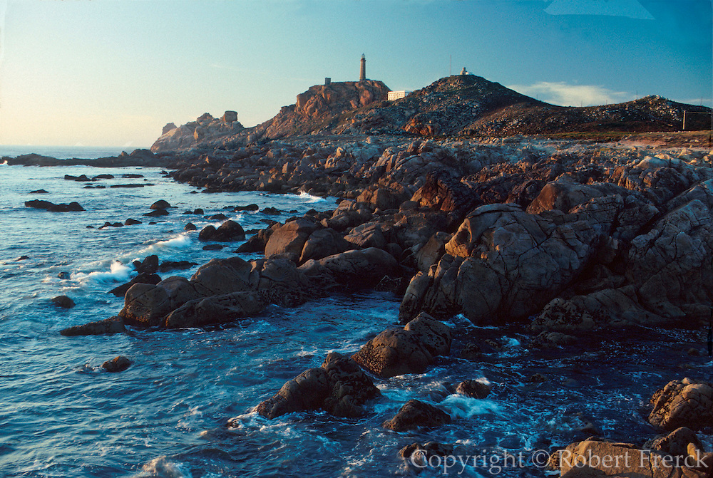 SPAIN, NORTH COAST, GALICIA lighthouse at Cape Vilano, north of Cape Finisterre on La Costa del Muerte or Coast of Death, west of Santiago